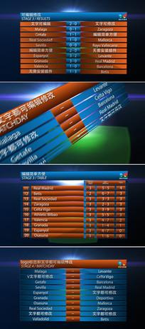体育比赛球队名单成绩对比模板