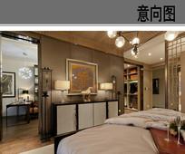 卧室整体空间布置