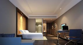 现代家庭特大床客房效果图