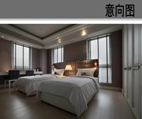 现代酒店双人房间设计
