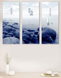 新中式客厅书房装饰画三联画