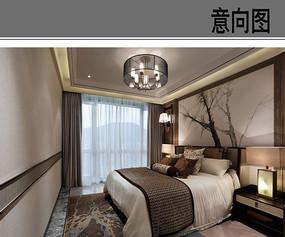 新中式卧室布置