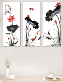 中国风荷花古韵客厅装饰画