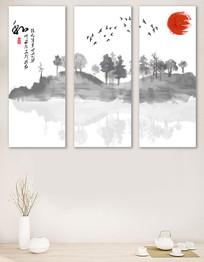 中国风山水三联无框装饰画