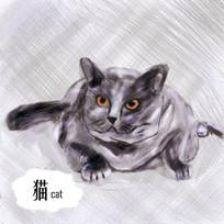 插画风水彩手绘猫PSD
