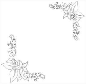 抽象对角蝴蝶花雕刻图案