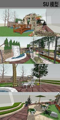 混搭庭院模型 skp
