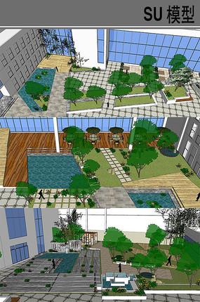 建筑内庭景观模型 skp