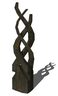 波浪形艺术雕塑su模型