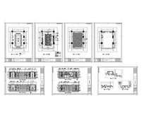 长方形式桌子会议室平立面图