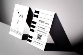 创意钢琴培训名片设计