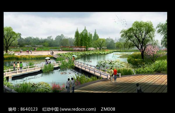 公园水景桥效果图图片