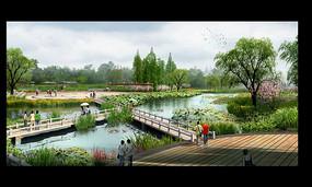 公园水景桥效果图