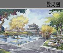 皇家园林酒店水池效果图