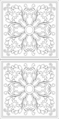 蝴蝶花窗花雕刻图案
