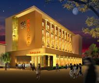 金色奢华风酒店建筑效果图