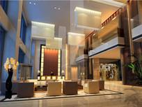 酒店玻璃柱子大堂效果图