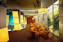 酒店橙色座椅休闲厅效果图 JPG