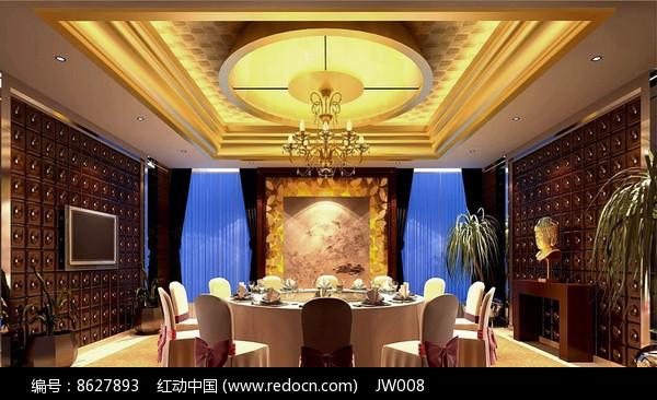 酒店古典木头色墙包厢效果图图片