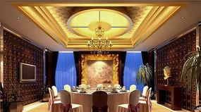 酒店古典木头色墙包厢效果图