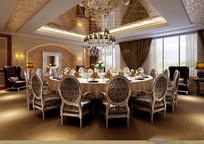 酒店金色典雅大餐厅效果图