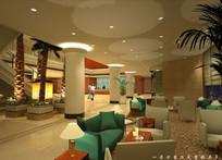 酒店绿色沙发一层大堂效果图 JPG