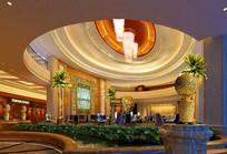 酒店嵌入式巨大吊灯大堂效果图