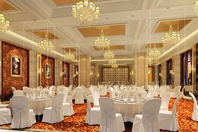 酒店全白座椅宴会厅效果图