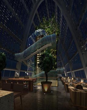 酒店全玻璃式楼梯特色餐厅