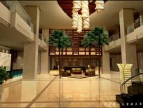 酒店室内大树大堂效果图