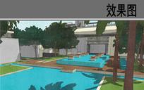 酒店水疗村中庭景观透视图