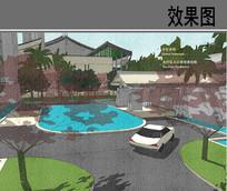 酒店水疗区入口景观效果图