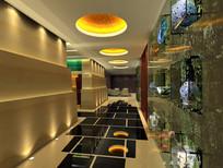 酒店陶瓷装饰餐厅前厅效果图