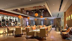 酒店斜方桌式自助餐厅效果图