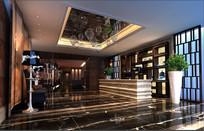 酒店新中式大厅效果图