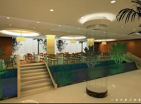 酒店一层植物餐西餐厅效果图