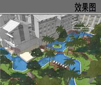 酒店悠院浅水池套房景观效果图