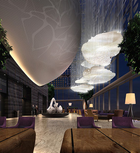 酒店云朵灯饰大堂效果图