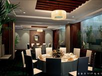 酒店植物装饰餐厅VIP包间
