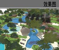 酒店主游泳池区景观效果图