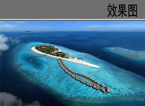 马尔代夫度假村鸟瞰图