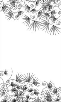 清新花香叶子花雕刻图案