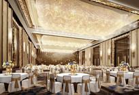 全白色座椅黄金蝴蝶结宴会厅