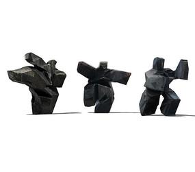 石质人物剪影雕塑su模型