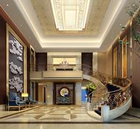 现代酒店曲型楼梯效果图
