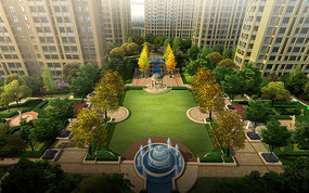 小区竖向喷泉景观设计