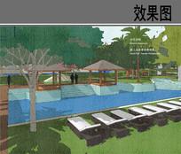 喜来登酒店成人泳池景观效果图