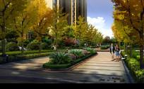 行道树和花坛景观
