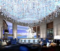 游艇酒店玻璃天鹅雕塑大堂吧