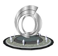 圆环造型艺术雕塑喷泉su模型 skp